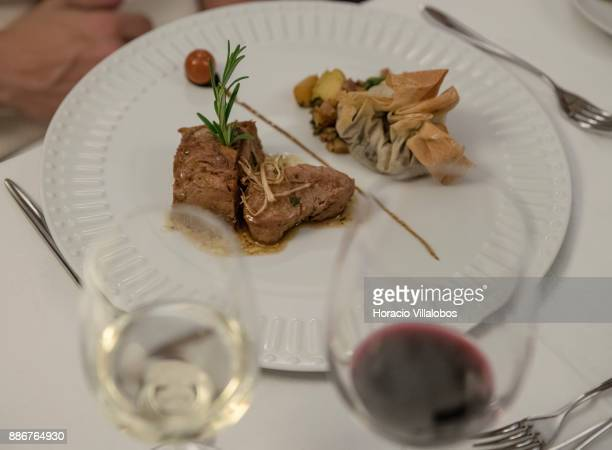 Goat kid meat with greens chestnuts and kohlrabi at dinner in five stars hotel Parador Casa da Insua during Gastronomic FAM Tour on November 28 2017...