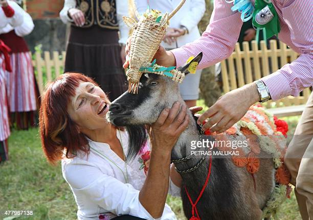 Goat 'Marce' is being crowned after winning a goat beauty contest in Ramygala Lithuania on July 20 2015 Ramygala was called the capital of Goats in...