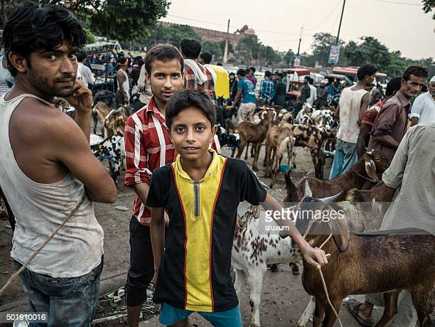 Goat market in Old Delhi India