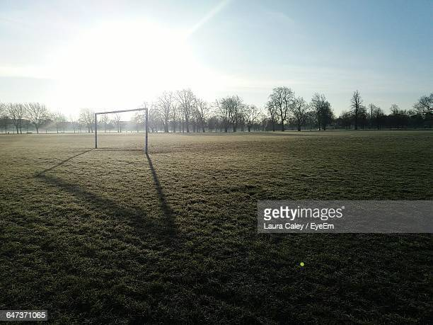 goat post on soccer field - football pitch stock pictures, royalty-free photos & images