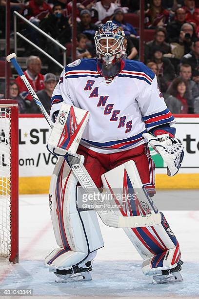 Goatlender Antti Raanta of the New York Rangers in actiuon during the NHL game against the Arizona Coyotes at Gila River Arena on December 29 2016 in...