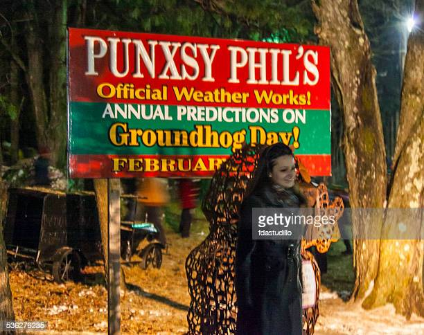 gobbler's knob - punxsutawney, pa - groundhog day stock photos and pictures