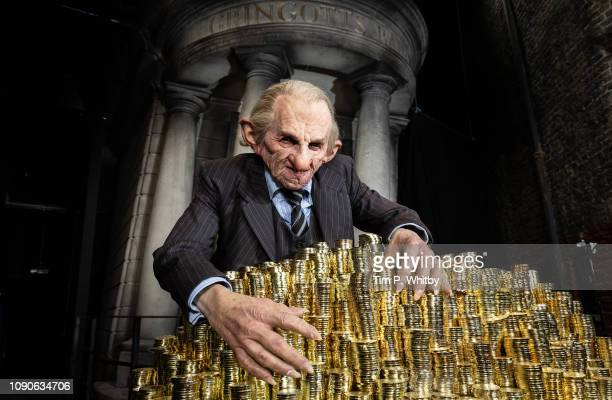 A goblin prepares for the launch of the original Gringotts Wizarding Bank the biggest expansion to date at Warner Bros Studio Tour London in Watford...