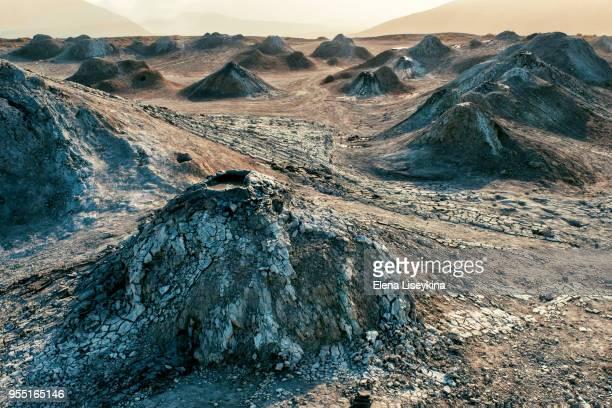 gobustan mud volcanos in azerbaijan. basalt columns. - azerbaijan stock pictures, royalty-free photos & images