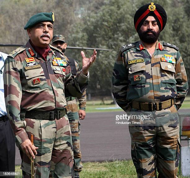 GoC in C Northern Command Lt Gen Sanjiv Chachra and LieutenantGeneral Gurmit Singh 15 core commander briefing media persons about end of operation in...