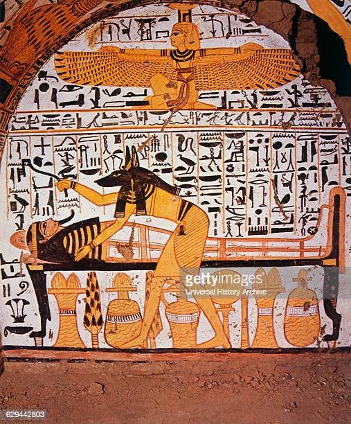 God Anubis Preparing the Dead for its Journey Thebes Egypt Tomb Painting