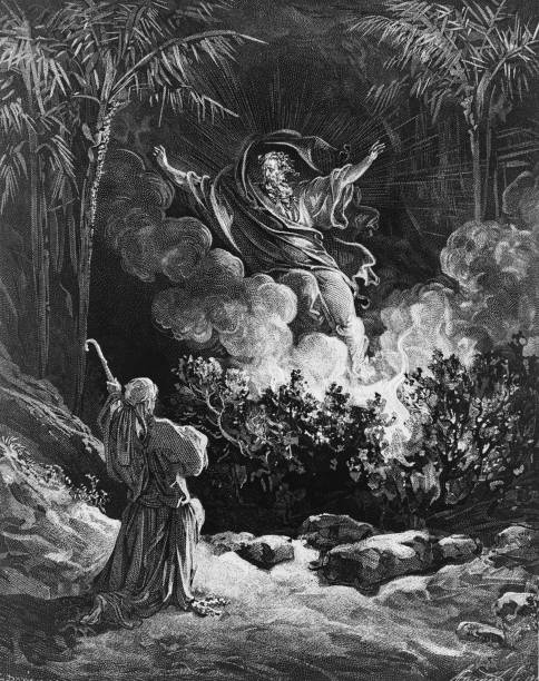 God appears to Moses in the burning bush, instructing...