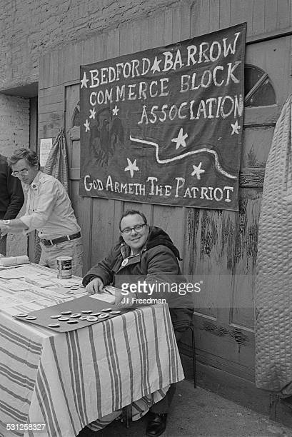'God Armeth the Patriot' the Bedford Barrow Commerce Block Association sell badges New York City circa 1976