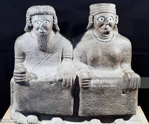 God Hadad and Goddess Ishtar double statue from the Aramean king Kapara's palace Mesopotamian civilisation 9th century BC Aleppo Archaeological Museum