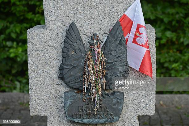 'God, Honor and Fatherland' description on the main cross of the military cemetery in Westerplatte on the 77th anniversary WWII outbreak. On...