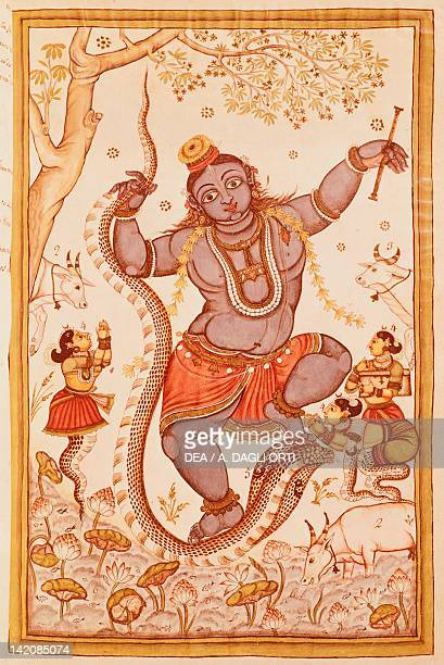 God Krishna and Kaliya the serpent king miniature from a the Book of Mughals India 17th Century
