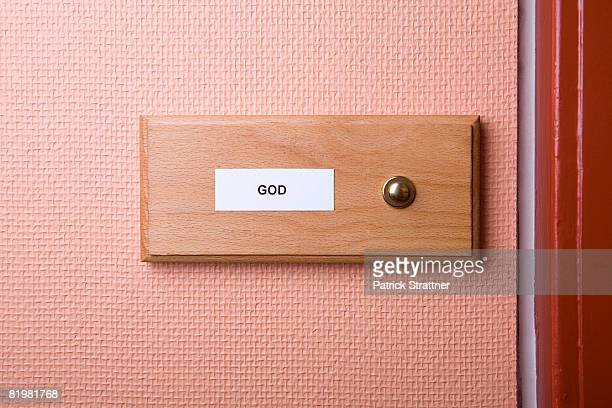 ?god? name sticker next to doorbell - intercom stock pictures, royalty-free photos & images