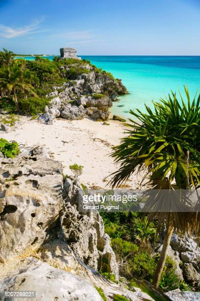 god of winds (dios del viento) temple in a sunny day. ruins of tulum, a pre-columbian mayan walled city in yucatán peninsula on the caribbean sea in the state of quintana roo, mexico. - gerard puigmal stock pictures, royalty-free photos & images