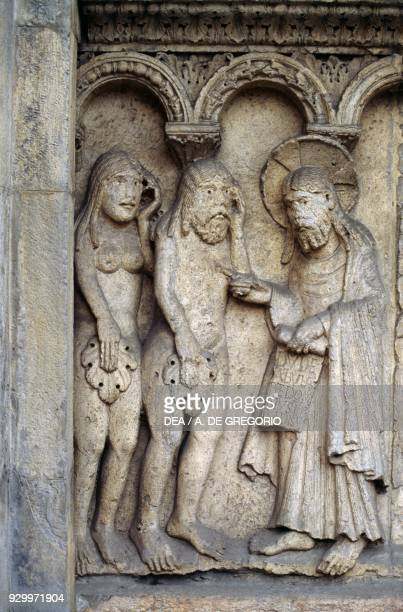 God rebuking Adam and Eve detail from Stories of Genesis by Wiligelmus marble basrelief facade of the Metropolitan Cathedral of Saint Mary of the...