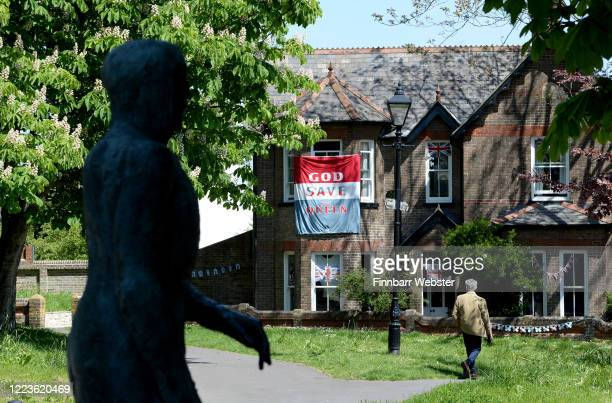 A 'God Save the Queen' flag is displayed on a house on May 08 2020 in Dorchester United Kingdom The UK commemorates the 75th Anniversary of Victory...