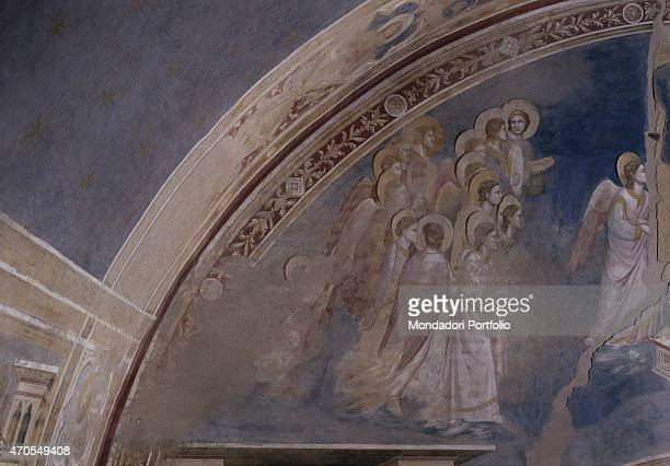 God sends the Archangel Gabriel by Giotto 13031305 14th Century fresco Italy Veneto Padua Scrovegni Chapel After restoration picture Detail The left...