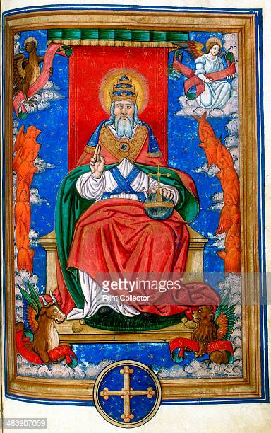 God the Father 1545 God enthroned hand raised in blessing At the corners are the symbols of the four Evangelists the Angel of St Matthew the Lion of...