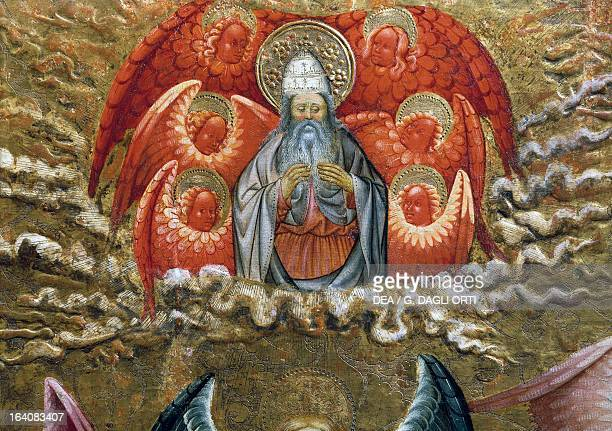 God the Father surrounded by angels altarpiece from Verdu 143234 by Jaume Ferrer II known as The Younger oil on canvas 159x93 cm Vic Museu Episcopal