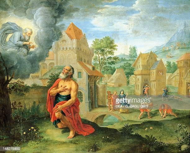 God warning Noah about the flood 17th century Flemish painting painting on copper Querétaro Museo De Arte De Querétaro