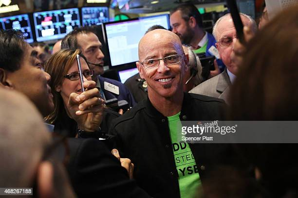 GoDaddy CEO Blake Irving visits the floor of the New York Stock Exchange as the website hosting service makes its initial public offering on April 1...