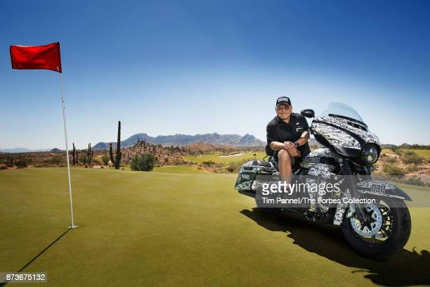 GoDaddy founder Bob Parsons is photographed with one of his US Marine Corpsthemed motorcycles for Forbes Magazine on September 20 2017 at the...