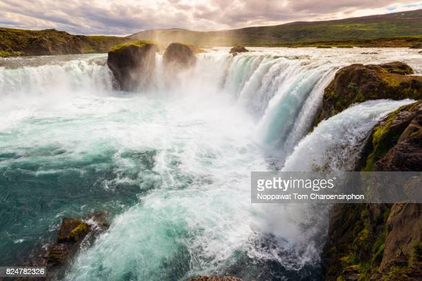 godafoss waterfall in summer, iceland - falling water stock photos and pictures