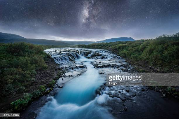 godafoss waterfall night - flowing stock pictures, royalty-free photos & images
