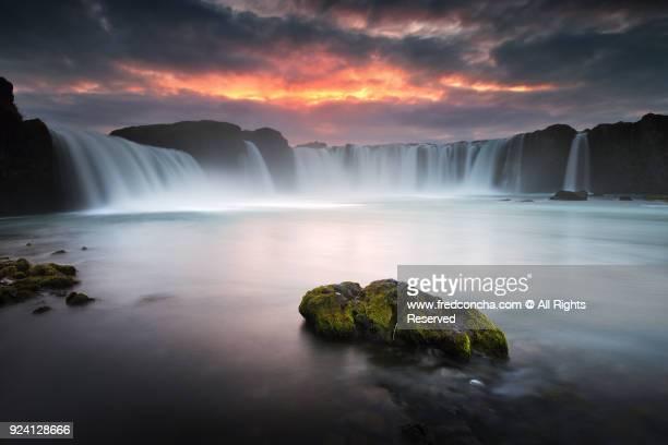 Godafoss Waterfall Sunset in Iceland