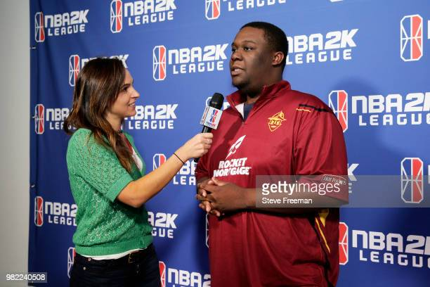 Godddof2k of Cavs Legion Gaming Club speaks with the media on June 23 2018 at the NBA 2K League Studio Powered by Intel in Long Island City New York...
