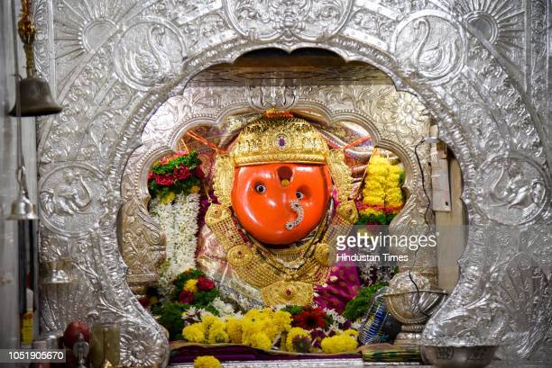 Goddess Chaturshringi at Chaturshringi Temple on the first day of Navratri on October 10 2018 in Pune India