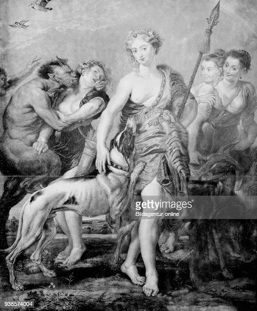 Goddess Diana and her entourage surprised by Satyr the demon Copper engraving after a painting by Peter Paul Rubens Diana und ihr Gefolge von Satyr...