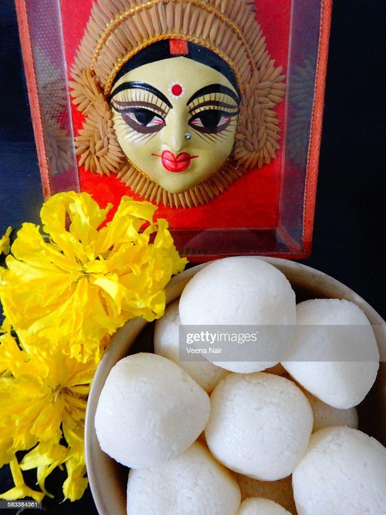 Goddess Durga -festival-marigold-rasgulla-navratri : Stock Photo