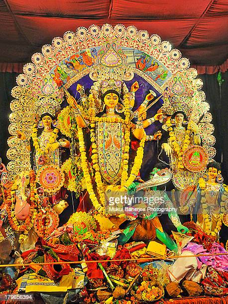 goddess durga idol during durga puja celebrations - durga stock photos and pictures