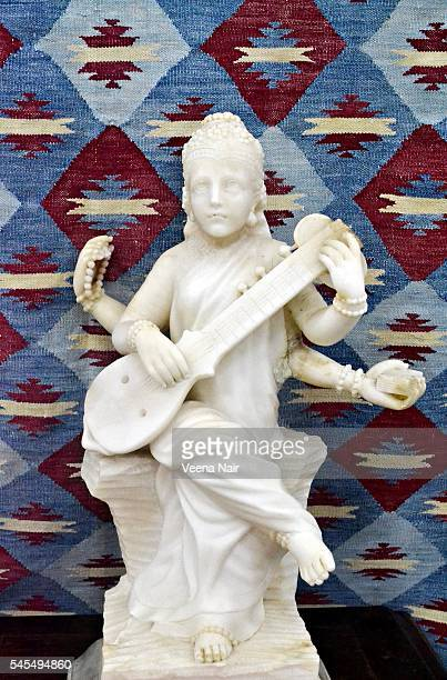 goddess saraswati-navajo textile-udaipur-rajasthan - saraswati stock photos and pictures