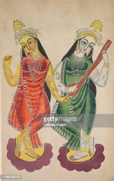 Goddesses Lakshmi and Sarasvati 1800s This is a symmetrical painting of two goddesses each standing on a lotus Both are considered in Bengali...