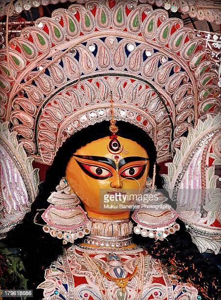 godess durga idol at durga puja celebrations - durga stock photos and pictures