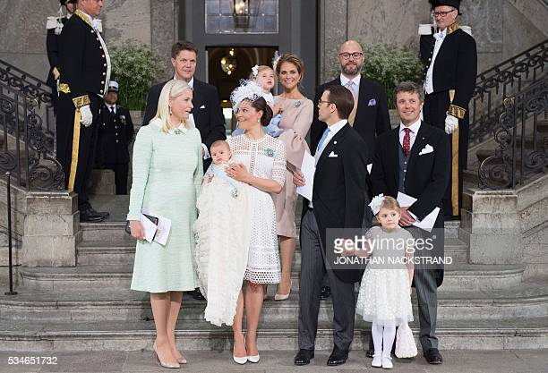 Godfather Hans Astrom Sweden's Princess Madeleine with Princess Leonore godfather Oscar Magnuson Crown Princess MetteMarit of Norway Crown Princess...