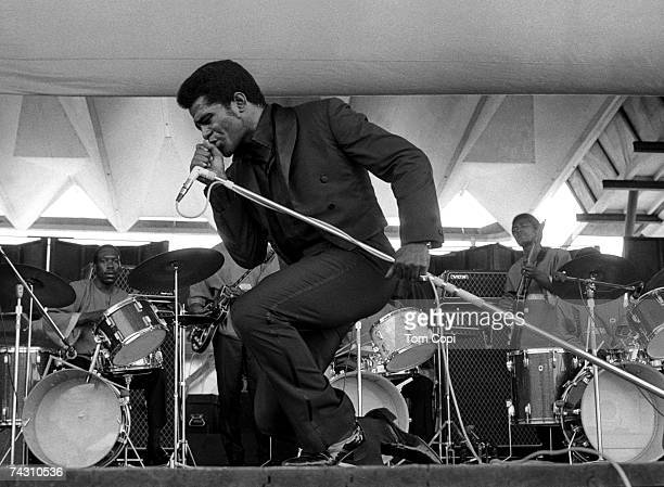 Godfather of soul James Brown performs onstage at the Newport Jazz Festival on July 6 1969 in Newport Rhode Island