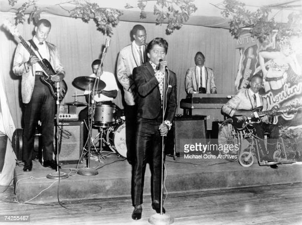 Godfather of Soul James Brown performs onstage with his band in circa 1958