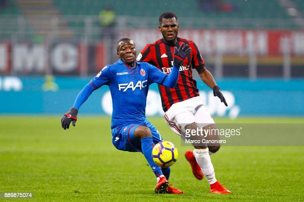 Godfred Donsah of Bologna Fc and Frank Kessie' of Ac Milan in action during the Serie A football match between AC Milan and Bologna Fc Ac Milan wins...