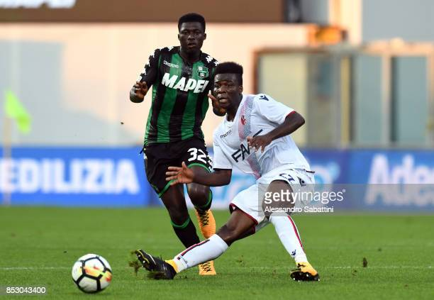 Godfred Donsah of Bologna FC in action during the Serie A match between US Sassuolo and Bologna FC at Mapei Stadium Citta' del Tricolore on September...