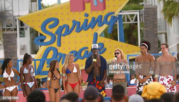 Godfrey and Jolene Blalock with contestants during MTV Spring Breake 2003 Full Body Search Miami in Miami, Florida, United States.