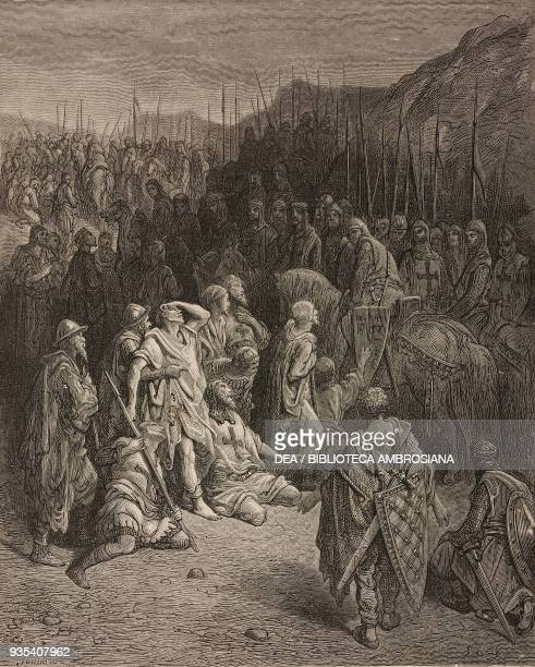 Godfrey de Bouillon meeting the survivors of Peter the Hermit's army , First Crusade, engraving by Gustave Dore from History of the Crusades by...