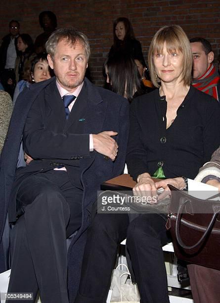 Godfrey Deeny and Jane Cattani during Olympus Fashion Week Fall 2004 Sebastian Pons Front Row at Angel Orensanz Foundation in New York City New York...