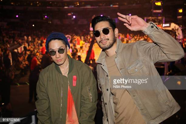 Godfrey Gao and Edison Chen attend State Farm AllStar Saturday Night as part of the 2018 NBA AllStar Weekend on February 17 2018 at STAPLES Center in...