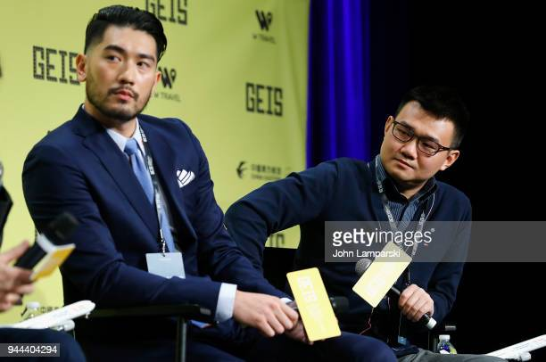 Godfrey Gao and Nick Yang speak during the Global Entertainment Industry Summit at the Manhattan Center on April 10 2018 in New York City