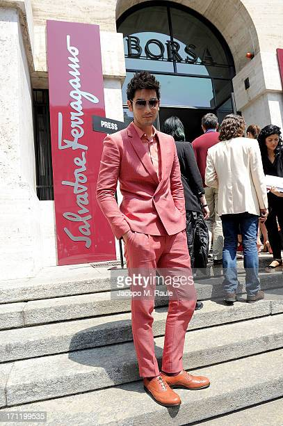 Godfrey Gao arrives at the 'Salvatore Ferragamo' show as part of Milan Fashion Week Spring/Summer 2014 on June 23 2013 in Milan Italy