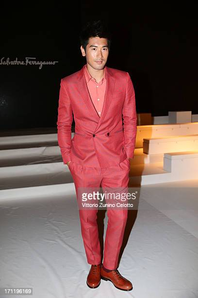 Godfrey Gao attends the Salvatore Ferragamo show during Milan Menswear Fashion Week Spring Summer 2014 on June 23 2013 in Milan Italy