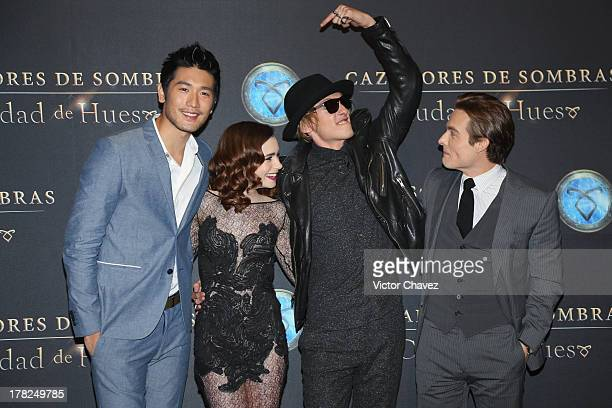 Godfrey Gao Lily Collins Jamie Campbell Bower and Kevin Zegers attend The Mortal Instruments City of Bones Mexico City screening at Auditorio...