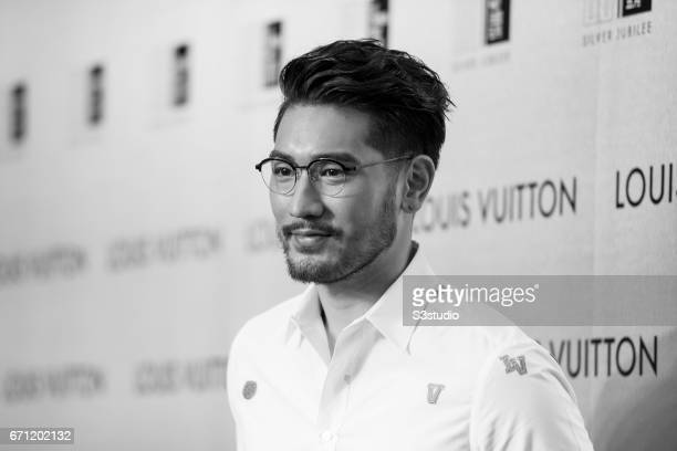 Godfrey Gao poses at the red carpet during the opening night of the Time Capsule Exhibition by Louis Vuitton on 21 April 2017 in Hong Kong China